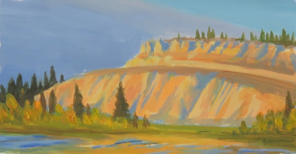 Sunset on the Clay Cliffs. Acrylic. 2017